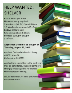 HELP WANTED poster for shelver 8-16